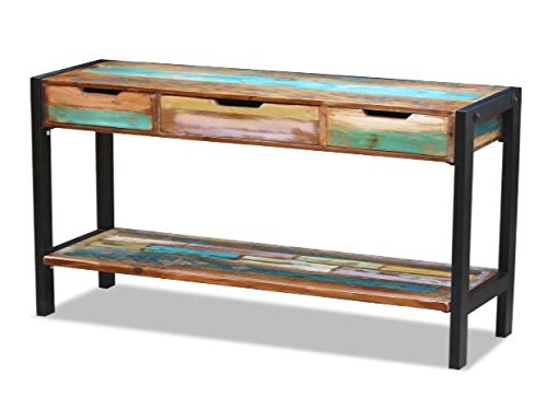 """K&A Company Sideboard Storage Cabinet W 3 Drawers Solid Reclaimed Wood Console Table - COLOR - Multicolor MATERIAL - Solid reclaimed wood + steel frame DIMENSION - 43.3"""" x 13.8"""" x 31"""" (L x W x H) - sideboards-buffets, kitchen-dining-room-furniture, kitchen-dining-room - 41EhhZn22CL -"""