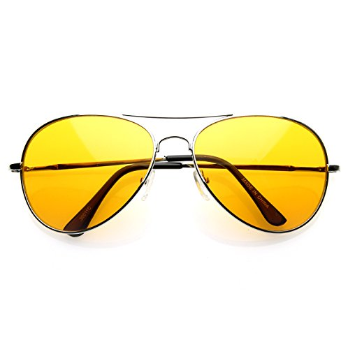 New Silver Metal Frame Classic Color See Through Lens Aviator Sunglasses - 6 Colors Available! (Orange - Sunglasses Through See