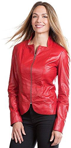 Tanya Italian Goatskin Leather Moto Jacket, RED, Size MED...