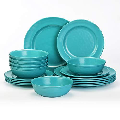 TP Dinnerware Sets Service for 6, Melamine Dinner Plates and Bowls Set, 18-Piece Dishes Set, Teal