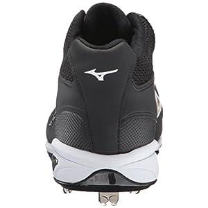 Mizuno Men's Dominant IC Mid Baseball Shoe, Black/White, 10 D US
