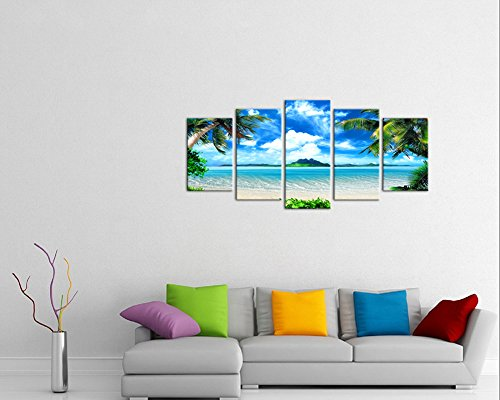 Pyradecor Modern 5 Panels Blue Sea Beach Pictures Paintings on Canvas Wall Art Stretched and Framed Contemporary Landscape Ocean Giclee Canvas Prints Artwork for Bedroom Home Decorations