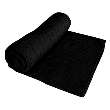 Couture Home Collection 100% Cashmere Certified Classic Cable Knit Warm and Soft Cashmere Throw Blanket 50 x 60 in (Black)