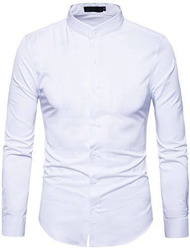 WHATLEES Mens Solid Slim Fit Long Sleeve Mandarin Collar Casual Button Down Shirt T117 White Medium