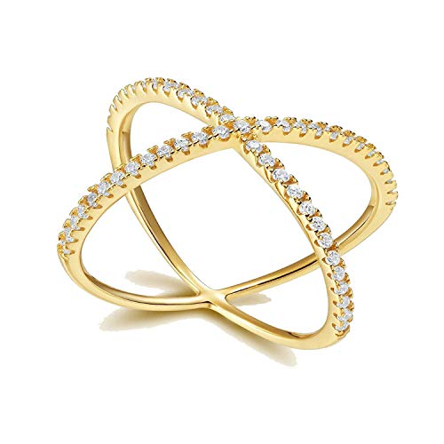 (SOMEN TUNGSTEN 925 Sterling Silver Gold-Plated Cubic Zirconia Criss Cross X Rings with Gift Box)