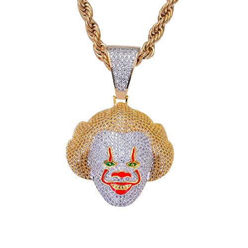 (MoCa Hip Hop Iced Out Bling Chain Clown Pendant Halloween Saw Billy Cosplay Necklace with 24 Inch Stainless Steel Rope Chain (Classic)