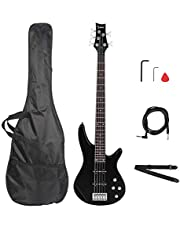 $166 » IB Electric Bass Guitar; Exquisite Basswood 5-String Electric Bass Guitar Bass Guitars Set With Stereo Bag&Shoulder Strap&Pick&Cord&Wrench Tool; Used For Beginners & Professionals; Black