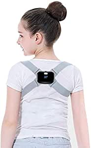 AUSELECT Posture Corrector for Adults/Kids,Back Adjustable Smart Corrector with Intelligent Sensor Vibration Reminder, Back Shoulder Posture Trainer (Grey Brace)