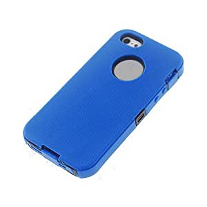 Blue Black Soft Gel Outer Hard Inner Apple iPhone 5 Cover Case w/ Screen Protector