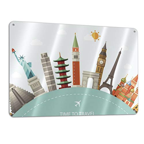 """Travel Famous World Landmarks Icons Industrial Warning Sign Safety Sign 11.8"""""""" x7.9 Road Sign"""