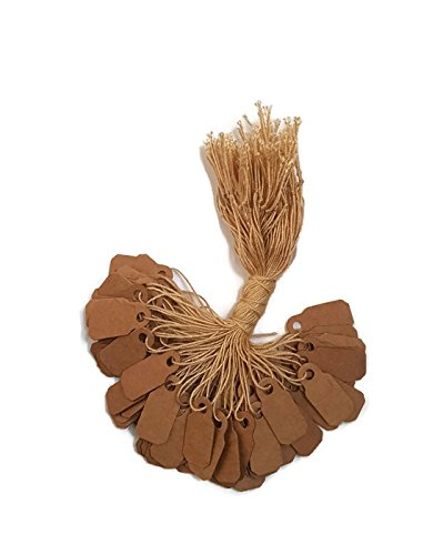 100 pcs Kraft Paper Tags, Jewelry Price Tags with String (3/8