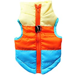 Voberry Cat Dog Pet Apparel Winter Striped Quilted Vest Coat Harness Jacket (S, Blue)