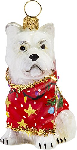 Joy To The World Westie in Ugly Christmas Sweater Dog Polish Tree Ornament West Highland Terrier
