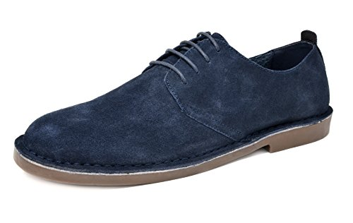 Bruno Marc Men's Francisco-Low Navy Suede Leather Lace Up Oxfords Shoes - 10.5 M US
