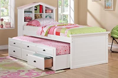 Doll house style headboard white finish wood panel design twin trundle bed with bookcase headboard and drawers