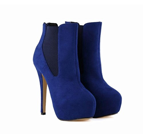Sur Aiguille Blue Chaussures Cheville Slip LINYI Femme à Talon Boots Floue Confortable Martin La A1YFR