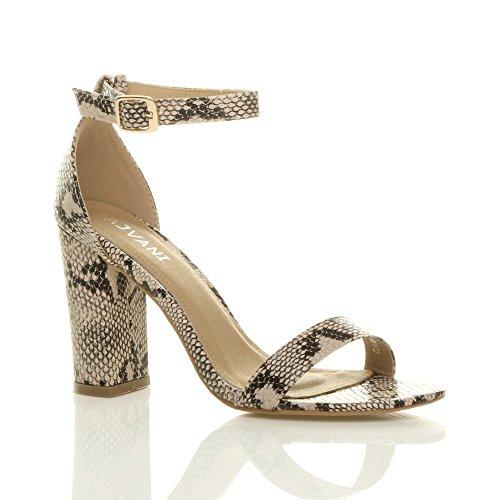 Women Block Size High Sandals Beige Heel Strappy Ajvani Snake q5d6q
