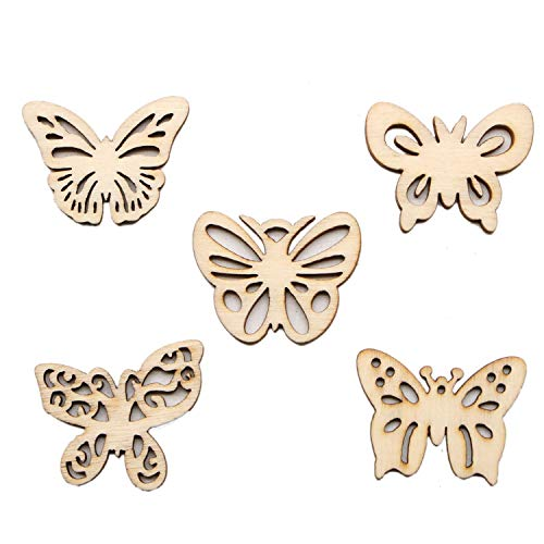 JETEHO 100 Pieces Unfinished Natural Wooden Butterfly Cutouts Gift Tag Wood Embellishment for DIY -