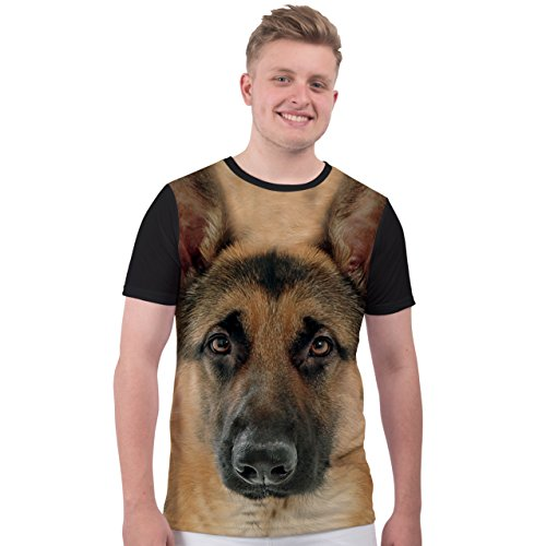 Bang Tidy Clothing Men's Animal Print Dog T Shirt German Shepherd Sublimation T Shirt Graphic Tee White XL Sublimation Graphic Tee