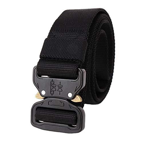 Hattfart Men Tactical Buckle Belt Heavy Duty Metal Buckle Military Webbing Nylon Belt Training Strap (Black) by Hattfart (Image #4)