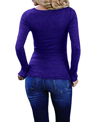 StyleDome Mujer Camiseta Playa Mangas Largas Blusa Tops Cuello Pico Noche Deportiva Oficina Azul