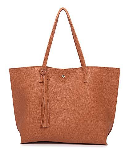 - Hycurey Women Large Tote Bag Tassels PU Leather Shoulder Handbags Ladies Fashion Purses Messenger Bags Brown
