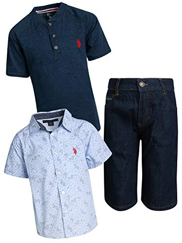 (U.S. Polo Assn. Boys' 3-Piece Short Set with Collared Shirt and Fashion T-Shirt, Denim/Navy, Size 6')