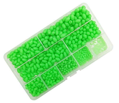 Milepet luminous Glow Fishing Beads,Hard Plastic Oval Shaped Fishing Eggs,Assortment Green Sea Fishing Bead Fishing Tackle Floating Tools Eggs,900pcs/box 9 size by Milepet