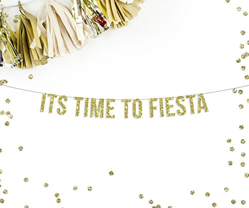 Fiesta Streamer (It's Time To Fiesta Party Banner | fiesta cactus sombrero salsa mustache theme party decor tequila bar sign)