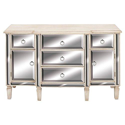 "Deco 79 Rectangular White Wood & Mirrored Cabinet with Storage, 48"" x 30"" Reflective"