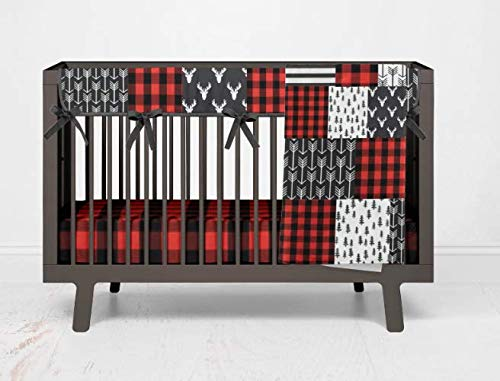 Crib Bedding Set- Forest Adventure - 3 Piece Boy Toddler and Crib Bedding Set in Red and Black Buffalo Plaid - Handmade in The USA