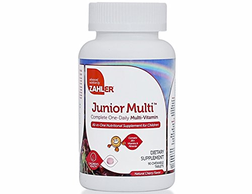 Zahler Junior Multi, Optimal Multivitamin and Mineral Supplement for Kids, Great Tasting Cherry Multivitamin for Children, 90 Chewable (Kid Vite Chewable Multivitamin)