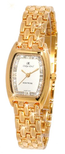 Oskar Emil Ladies Montrose Women's 23K Gold 32 Crystal Watch with Silver Dial