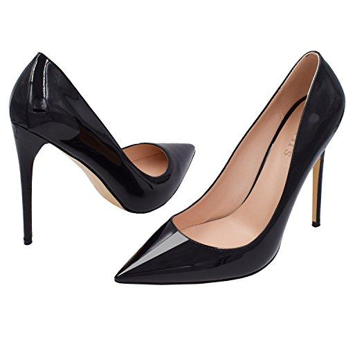 Lovirs Womens Punta A Punta Scarpe Con Tacco A Spillo Su Tacco A Spillo Scarpe Da Sposa Basic Shoes Nere