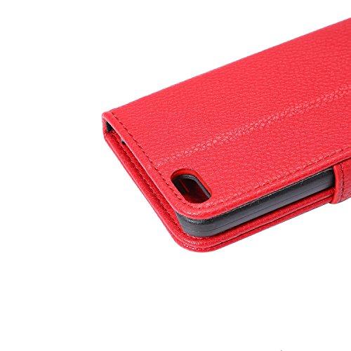 Voguecase® für iPhone SE hülle , Kunstleder Tasche PU Schutzhülle Tasche Leder Brieftasche Hülle Case Cover (Litschi Linien/Rot) + Gratis Universal Eingabestift