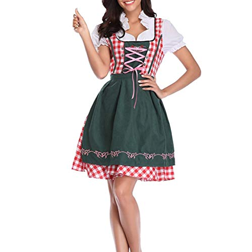 Tomppy Women Oktoberfest Costume Beer Festival October Dirndl Plaid Mini Dress Carnival Halloween Maid Cosplay Costume -