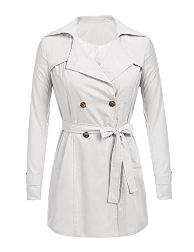Soteer Womens Double Breasted Belted Trench Coats,White,Small ()