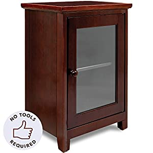 Stony Edge Premium Night Stand – Easiest Assembly, No Tools Required – Two Shelf Wooden Bedside Table or End Table with Glass Door – Heavy Duty Elegant Accent Furniture
