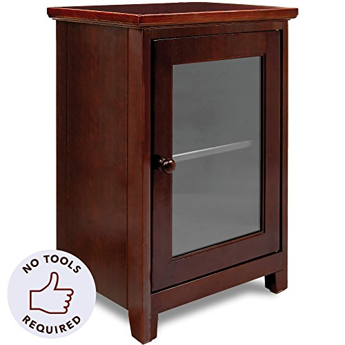 Stony-Edge Espresso Night Stand – Easiest Assembly, No Tools Required – Premium Two Shelf Wooden Bedside Table or End Table with Glass Door – Heavy Duty Elegant Accent Furniture