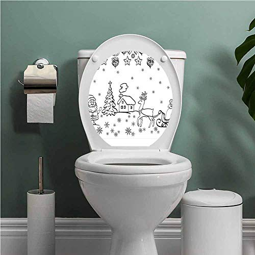 Dale Earnhardt Seat Covers - SCOCICI1588 Christmas ToiletseatStickerDecal Tree Ornaments with Santa Sleigh Rudolph Reindeer Toys Jingle Bells Image Toilet Decoration Black and White W13XL16 INCH