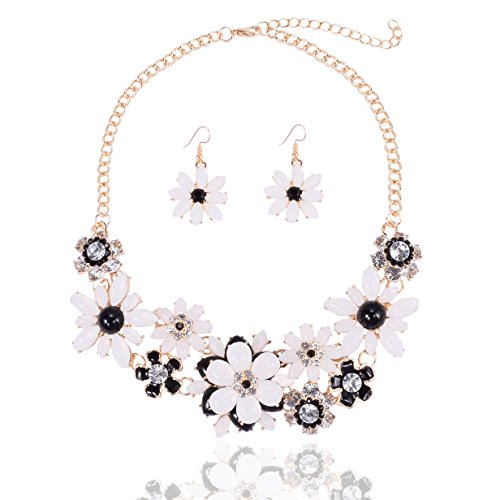 Flower Costume Jewelry - Yuhuan Flower Chunky Statement Necklace Rhinestone Costume Jewelry for Women (Black and White)