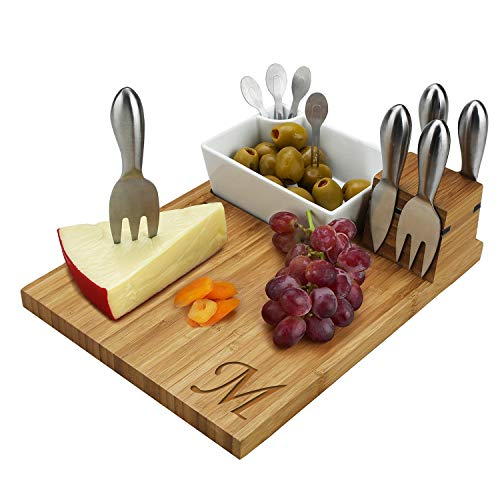 (Picnic at Ascot Original Personalized Monogrammed Bamboo Cheese Board with Cheese Knives, Ceramic Bowl, Cocktail Sticks & Cheese Markers- Designed & Quality Checked in the USA)