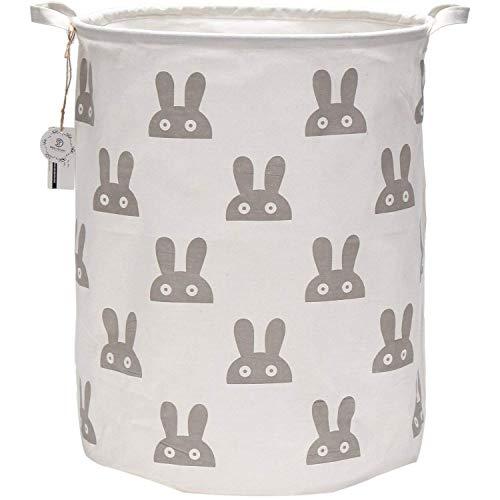 Sea Team 19.7 Large Sized Waterproof Coating Ramie Cotton Fabric Folding Laundry Hamper Bucket Cylindric Burlap Canvas Storage Basket with Cute Bunny Design (Grey)