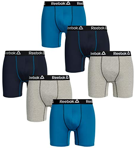 Contour Boxer Brief - Reebok Mens 6 Pack Performance Anti-Microbial Boxer Briefs, Navy/Light Grey/Blue, Size Medium'
