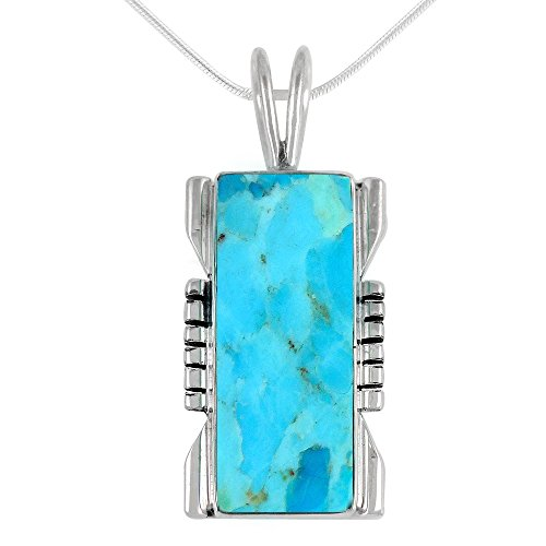 Turquoise Pendant Necklace in Sterling Silver 925 & Genuine Turquoise (Select Style) (Rectangle) (Turquoise Silver Pendant Genuine Sterling)