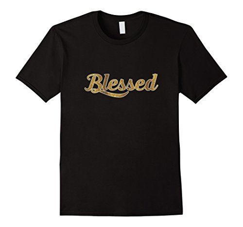 Men's Blessed Gold Glitter Lettering T-Shirt Small Black (Gold Glitter Shirt)