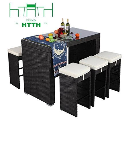 HTTH 7 Piece Outdoor Rattan Wicker Bar Table and Chairs Patio Dining Set (9010-EXP) (Aluminum Chair Nesting)