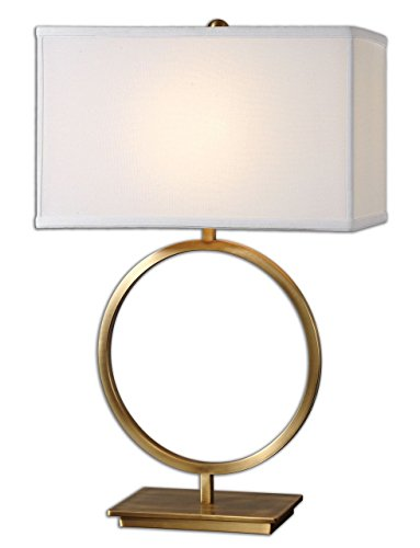 Marcus Brass Table Lamp - Contemporary Large Brass Circle Open Table Lamp