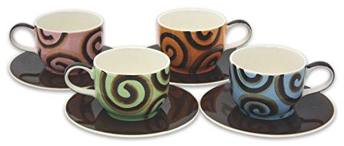 Hues & Brews 683-409 8 Piece Chocolate Ribbon Latte Cup and Saucer Set, 14 oz, 4.1 x 5.8 x 3 ()