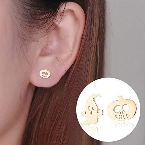 NOUMANDA Cute Small Ghost Pumpkin Lantern Stud Earrings Fashion Simple Style Halloween Jewelry Rose Gold